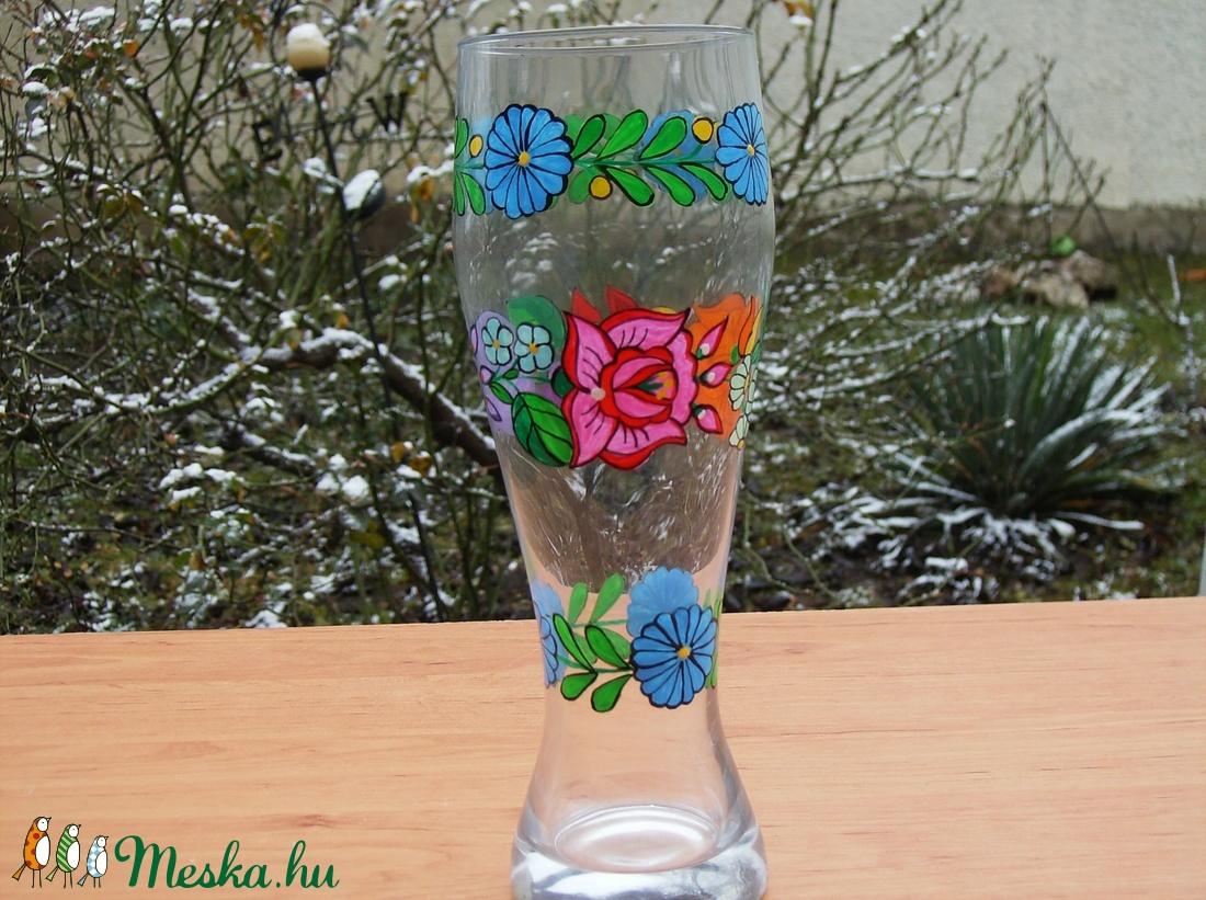 23 cm üveg váza ,kézzel festve . - otthon & lakás - dekoráció - váza - Meska.hu