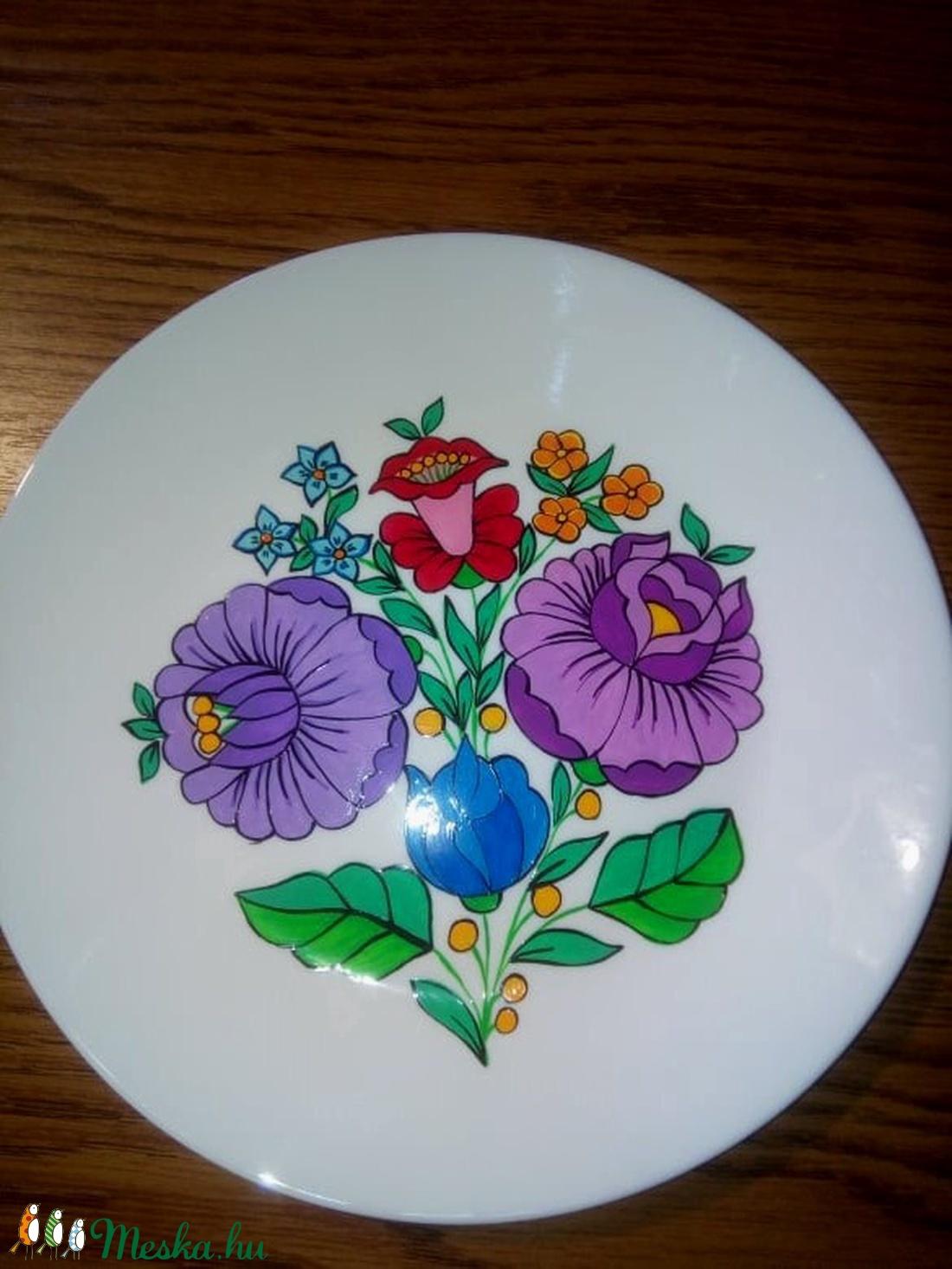 Kalocsai kézzel festett porcelán tányér . - Meska.hu