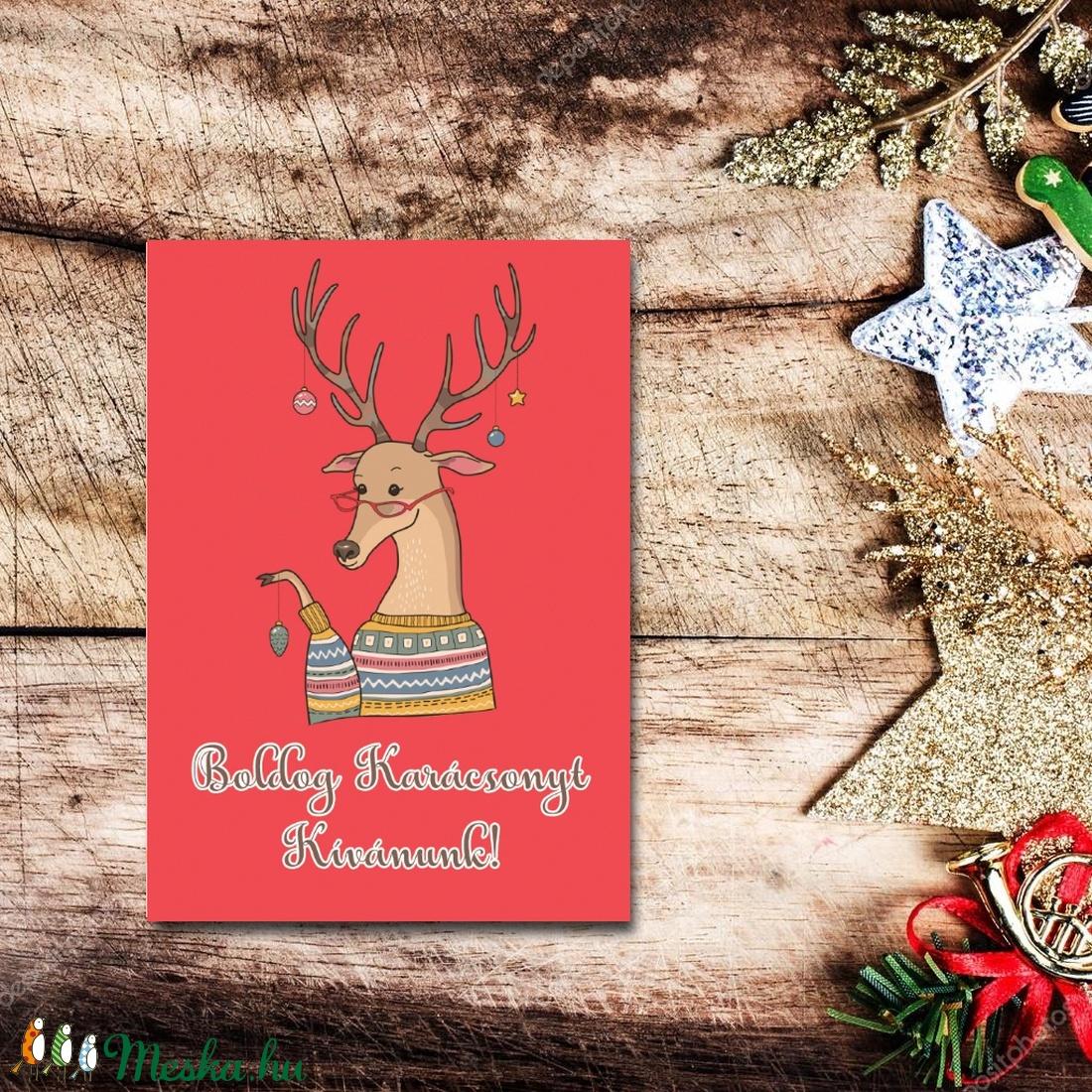Karácsonyi képeslap - állatos, rénszarvasos üdvözlőlap - Boldog Karácsonyt! (BBdesign) - Meska.hu