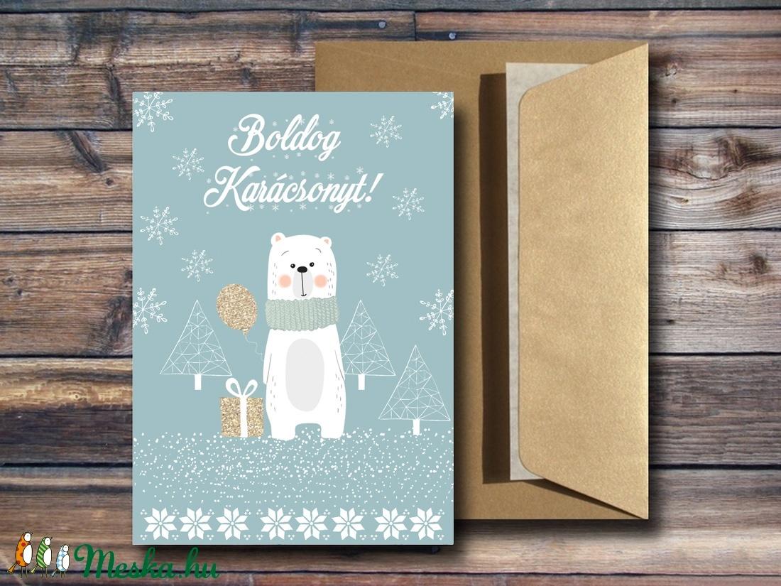 Karácsonyi képeslap - állatos, cuki macis üdvözlőlap - Boldog Karácsonyt (BBdesign) - Meska.hu