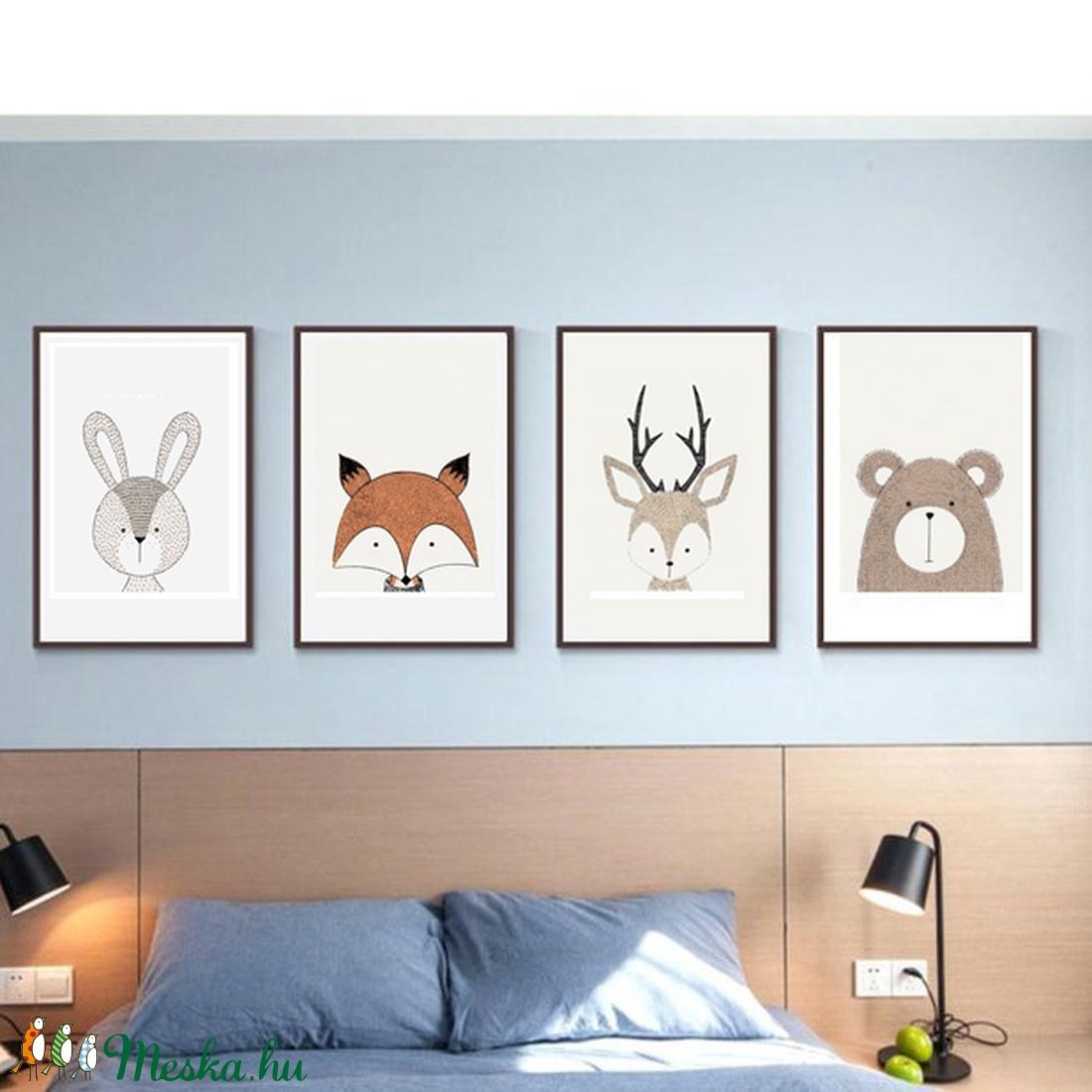 Babaszoba fali dekoráció, maci, szarvas, róka, nyuszi, farkas fali kép A4 méretben (BBdesign) - Meska.hu