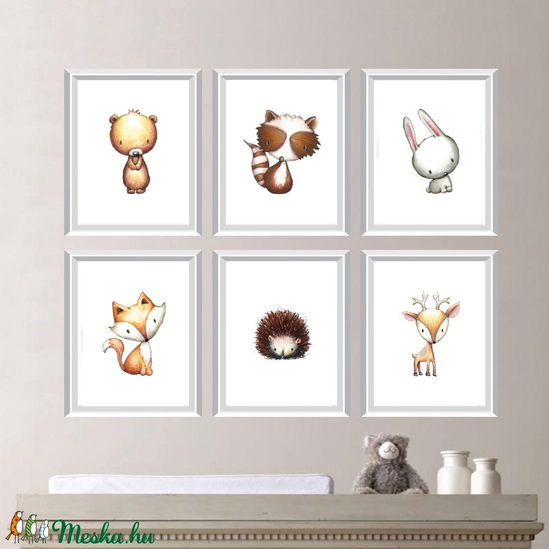 Babaszoba fali dekoráció, maci, szarvas, róka, nyuszi, mosómedve, süni fali kép A4 méretben (BBdesign) - Meska.hu