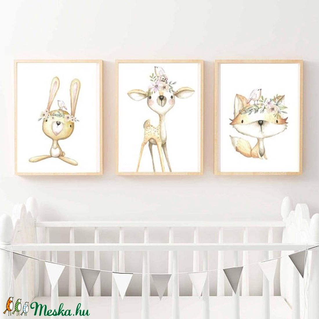 Babaszoba fali dekoráció, állatos - róka, nyuszi, őzike fali kép A4 méretben (BBdesign) - Meska.hu