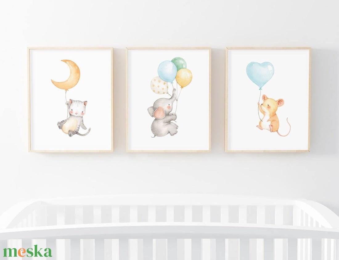 Babaszoba fali dekoráció, állatos falikép- cica, elefánt, kisegér -  A4 méretben, keret nélkül (BBdesign) - Meska.hu