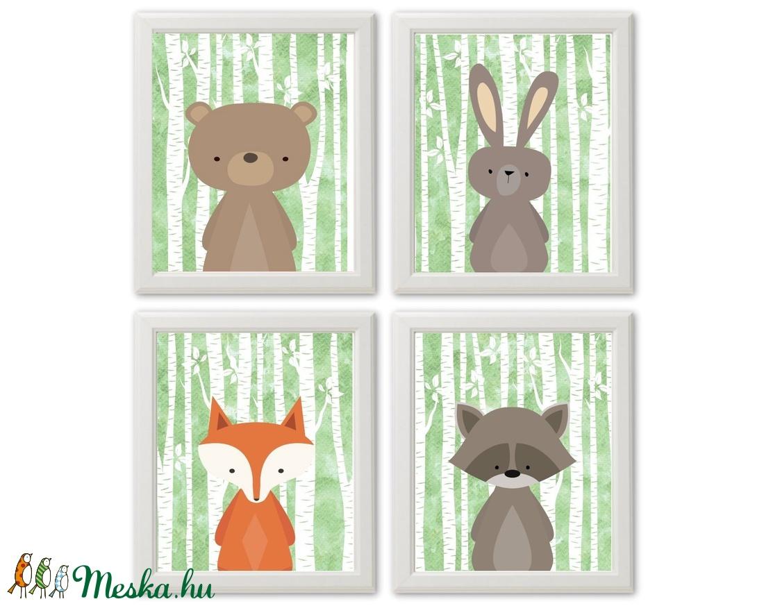 Babaszoba fali dekoráció, erdei állatos falikép- maci, nyuszi, róka, mosómedve  -  A4 méretben, keret nélkül (BBdesign) - Meska.hu