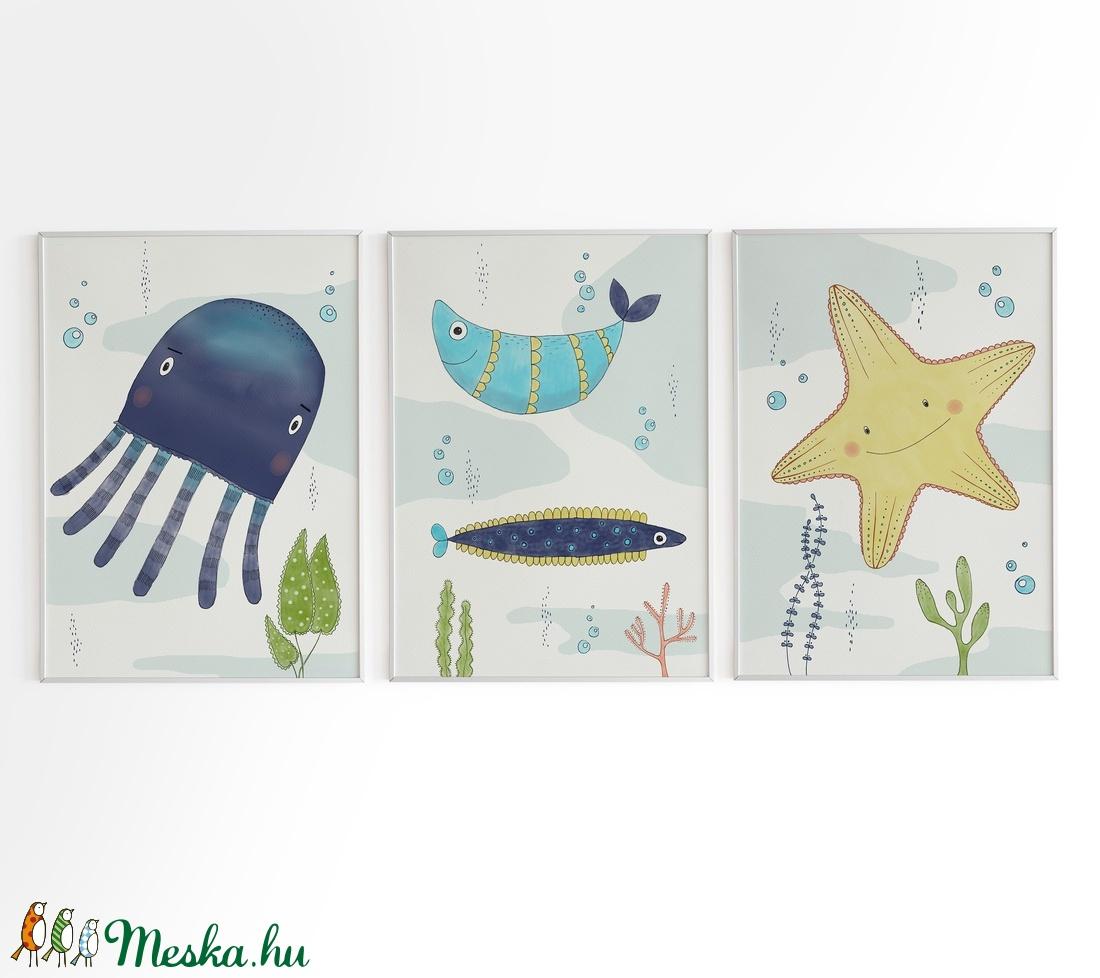 Babaszoba fali dekoráció, tengeri állatos - polip, halacska, tengeri csillag - fali kép A4 méretben, keret nélkül (BBdesign) - Meska.hu