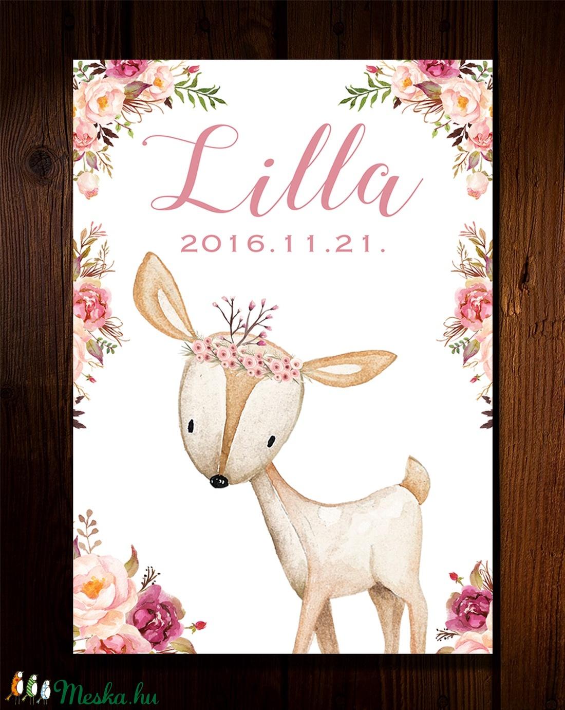Babaszoba fali dekoráció, állatos - poszter, névvel és születési dátummal fali kép A4 méretben (BBdesign) - Meska.hu
