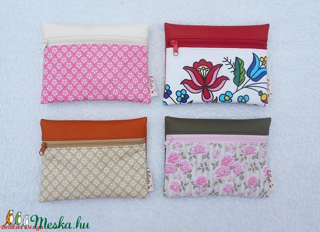 Pink virág mintás pénztárca - fehér - táska & tok - pénztárca & más tok - pénztárca - Meska.hu