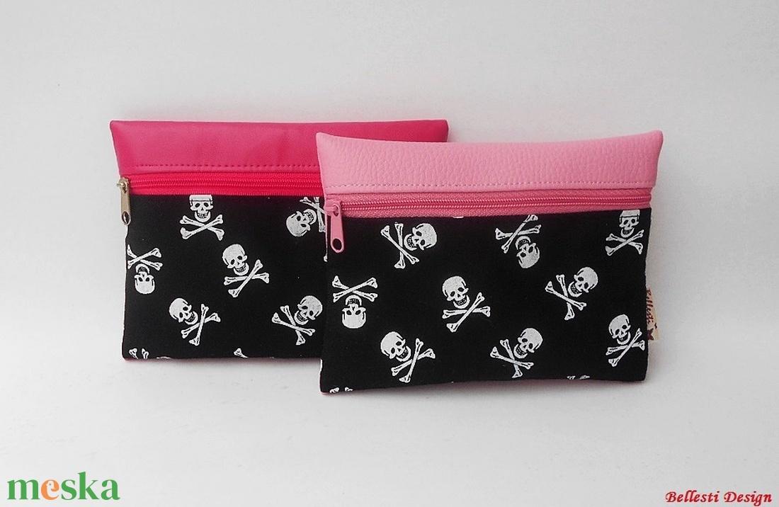 Koponya mintás pénztárca lányoknak - pink - táska & tok - pénztárca & más tok - pénztárca - Meska.hu