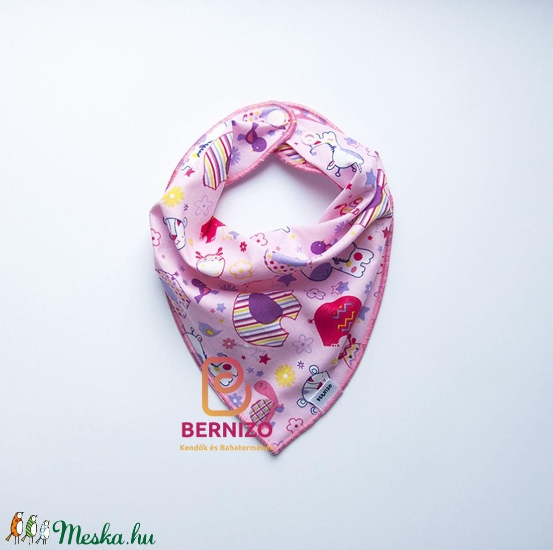 Rózsaszín állatkás nyálkendő/ babakendő (Bernizo) - Meska.hu