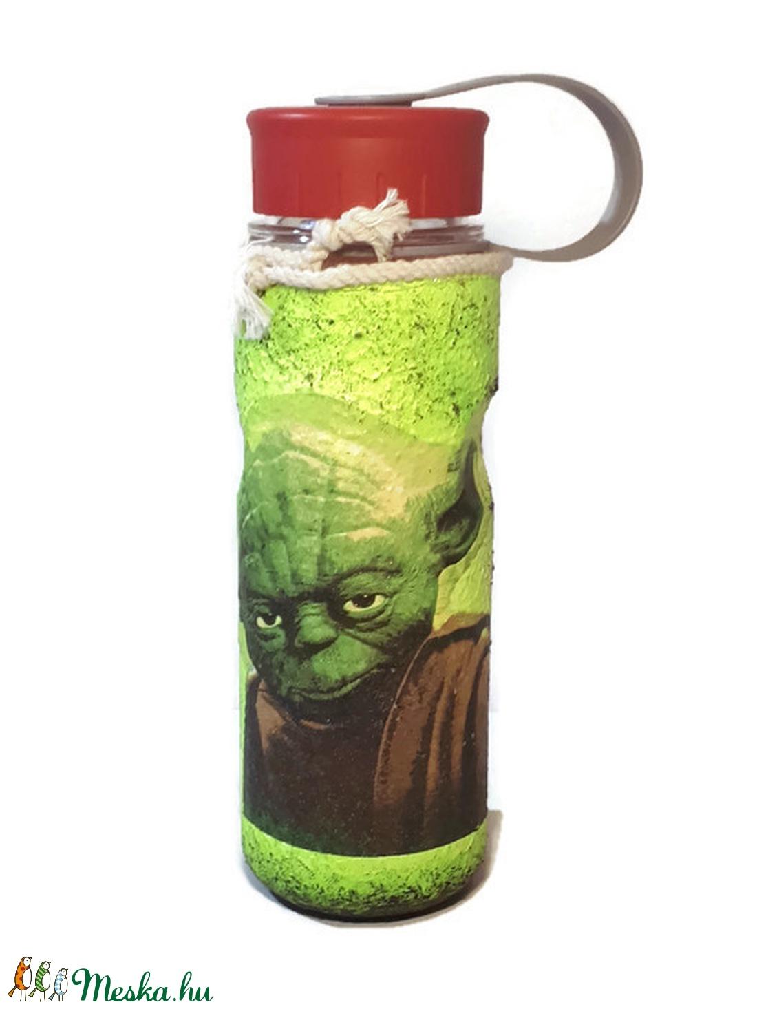 Star Wars - sötétben világító Yoda fali- ajtódísz, kopogtató és műanyag kulacs   - otthon & lakás - dekoráció - kép & falikép - Meska.hu