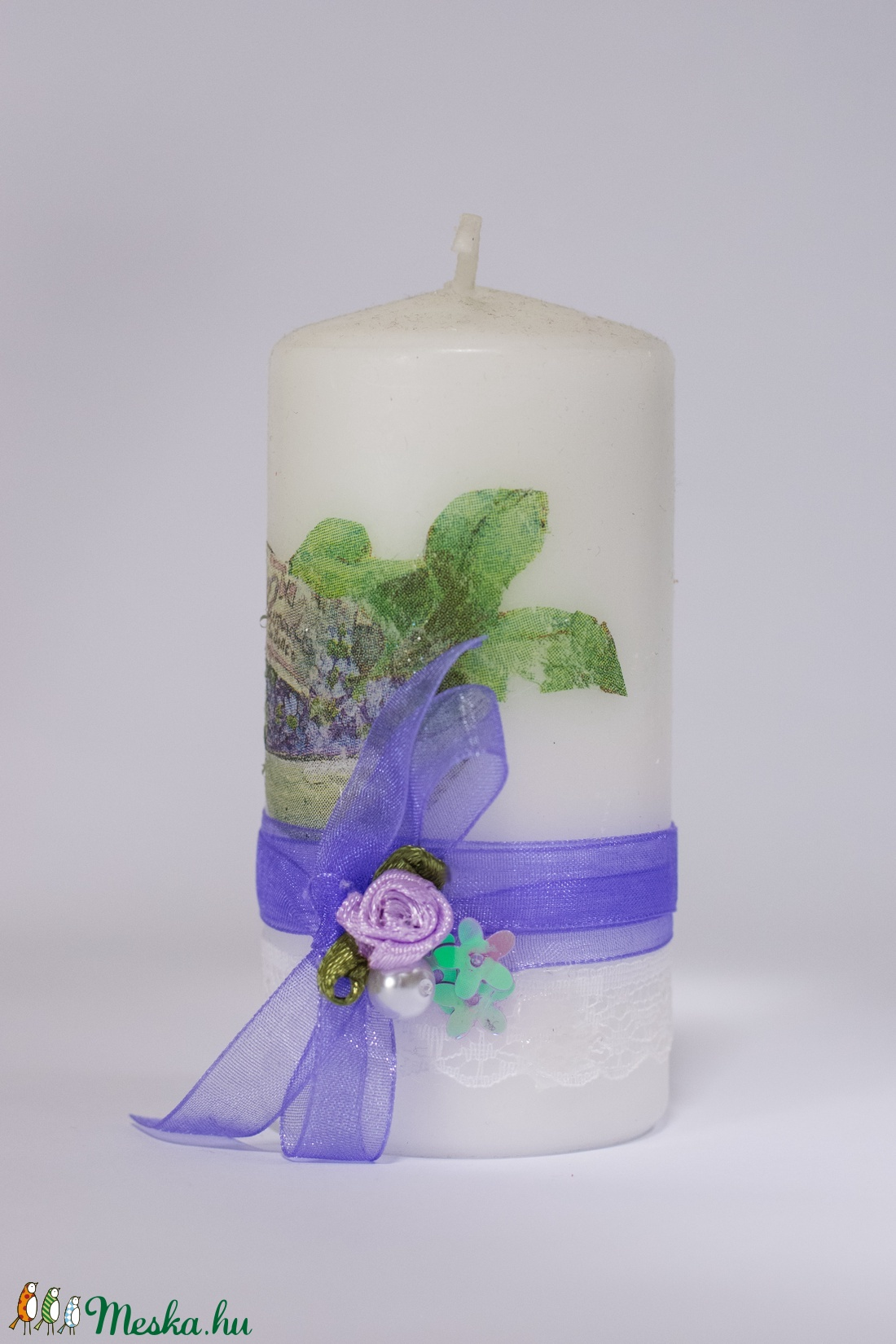 Levendulás decoupage gyertya , levendula esküvői, lakás dekoráció, ajándék névnapra, szülinapra levelndulát kevelőnek. - otthon & lakás - dekoráció - gyertya & gyertyatartó - Meska.hu
