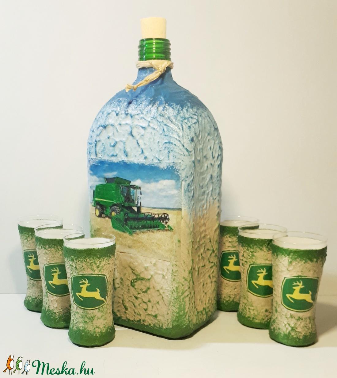 John Deere kombájn díszüveg röviditalos poharakkal kombájnt kedvelőknek szülinapra, névnapra (Biborvarazs) - Meska.hu
