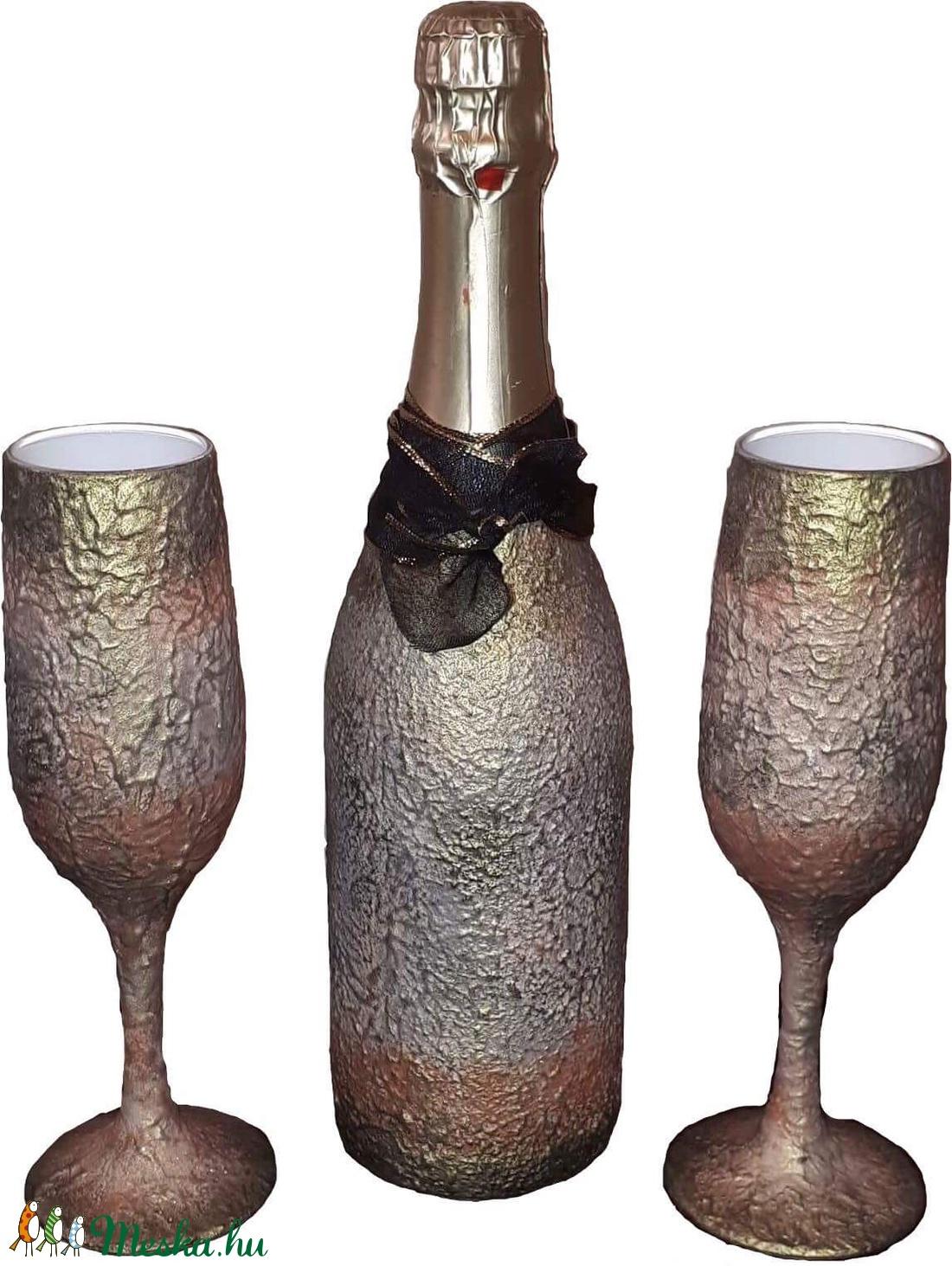 Vintage pezsgő + pezsgőspohár, egyedi neves felirattal eljegyzésre, házasságkötésre, nászajándékba... - Meska.hu