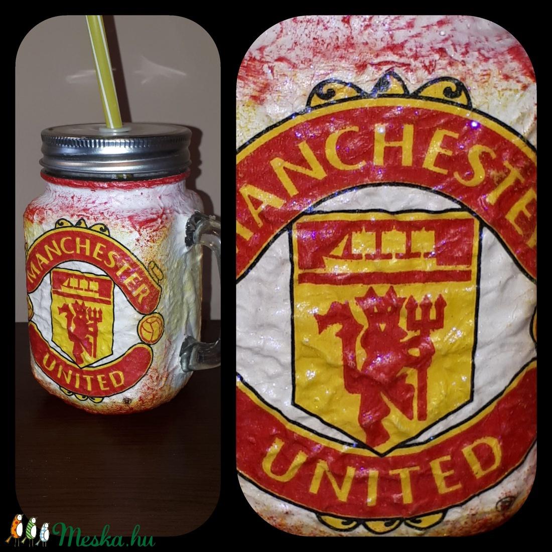 Manchester United foci rajongói sörös korsó vagy szívószálas üveg kettő az egyben - otthon & lakás - dekoráció - díszüveg - Meska.hu
