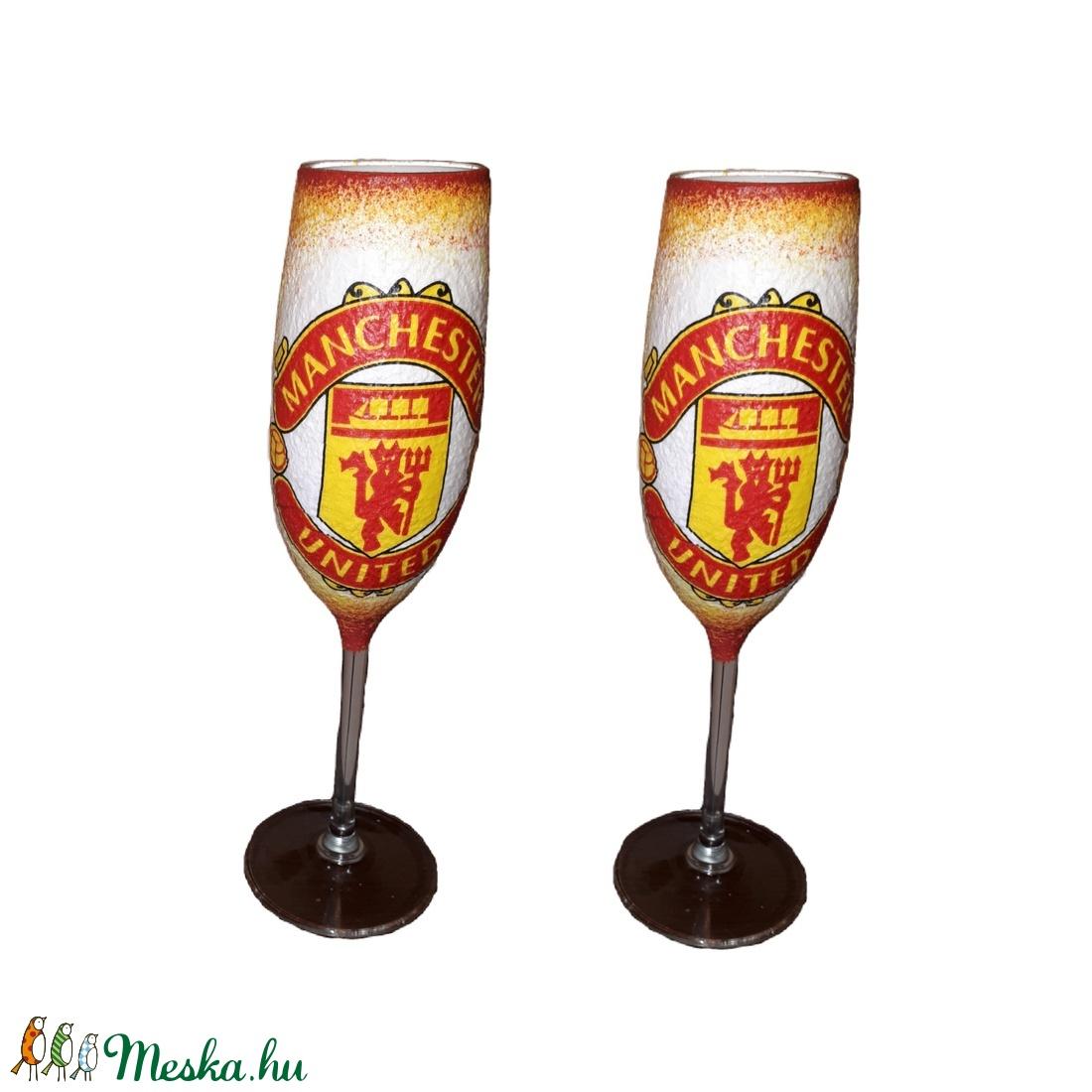 Manchester United  pezsgős 2 db-os pohárszett foci rajongói ajándékl (Biborvarazs) - Meska.hu
