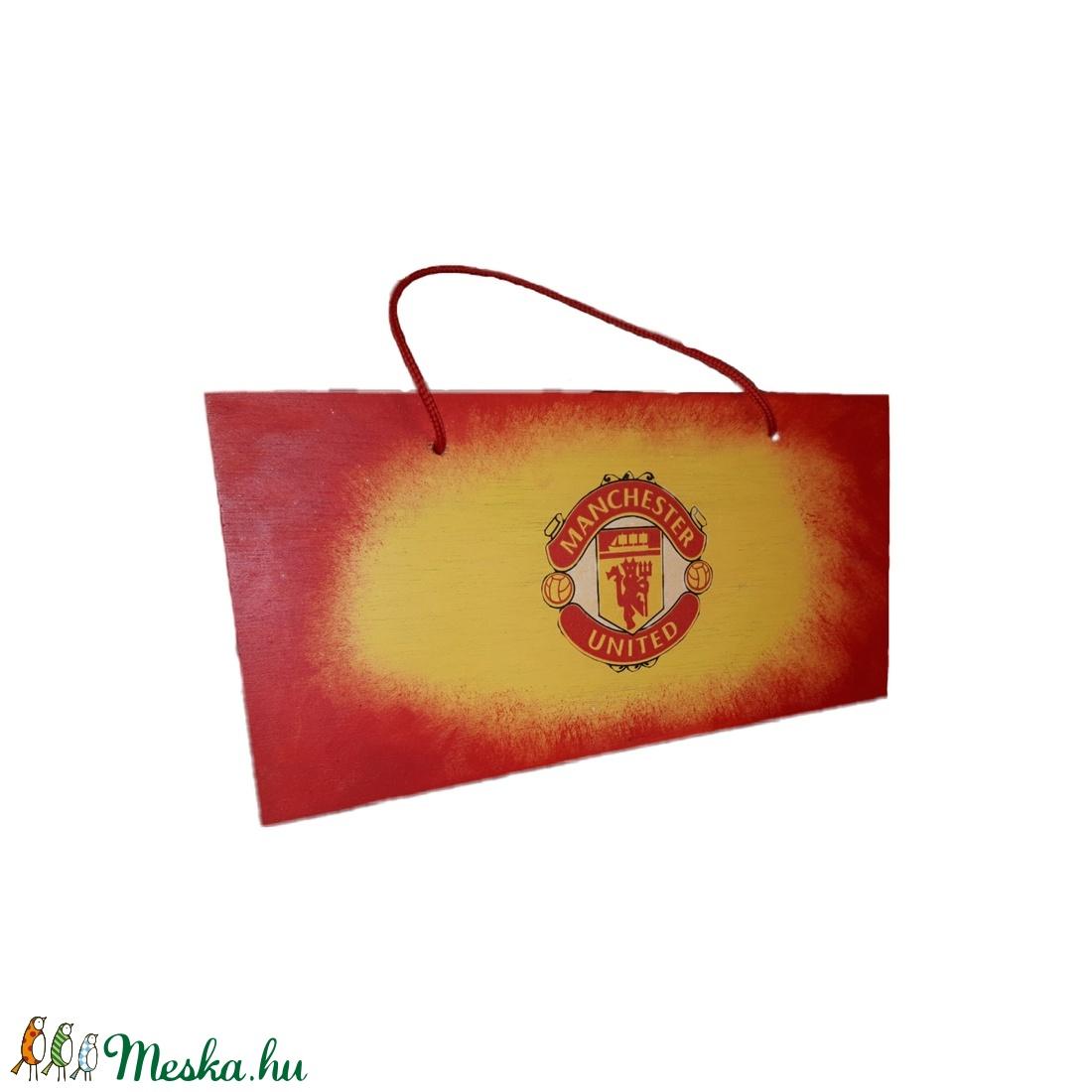 Manchester United  fa fluroeszkáló ajtó tábla, kopogtató, ajtódísz, falidísz, emléktábla futball rajongói ajándék - otthon & lakás - dekoráció - ajtódísz & kopogtató - Meska.hu