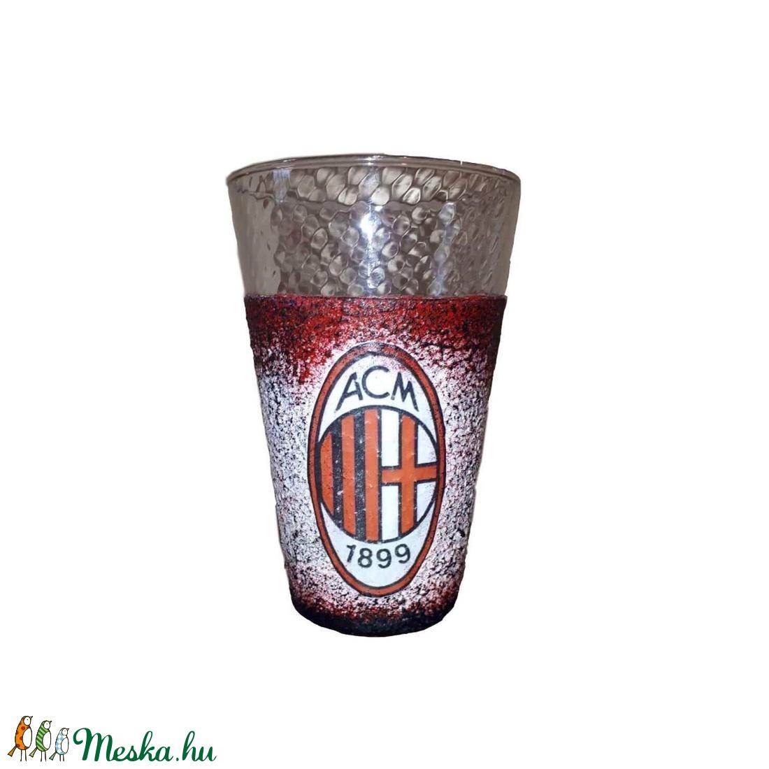AC Milan foci rajongói üdítős, vizes pohár  - otthon & lakás - dekoráció - díszüveg - Meska.hu