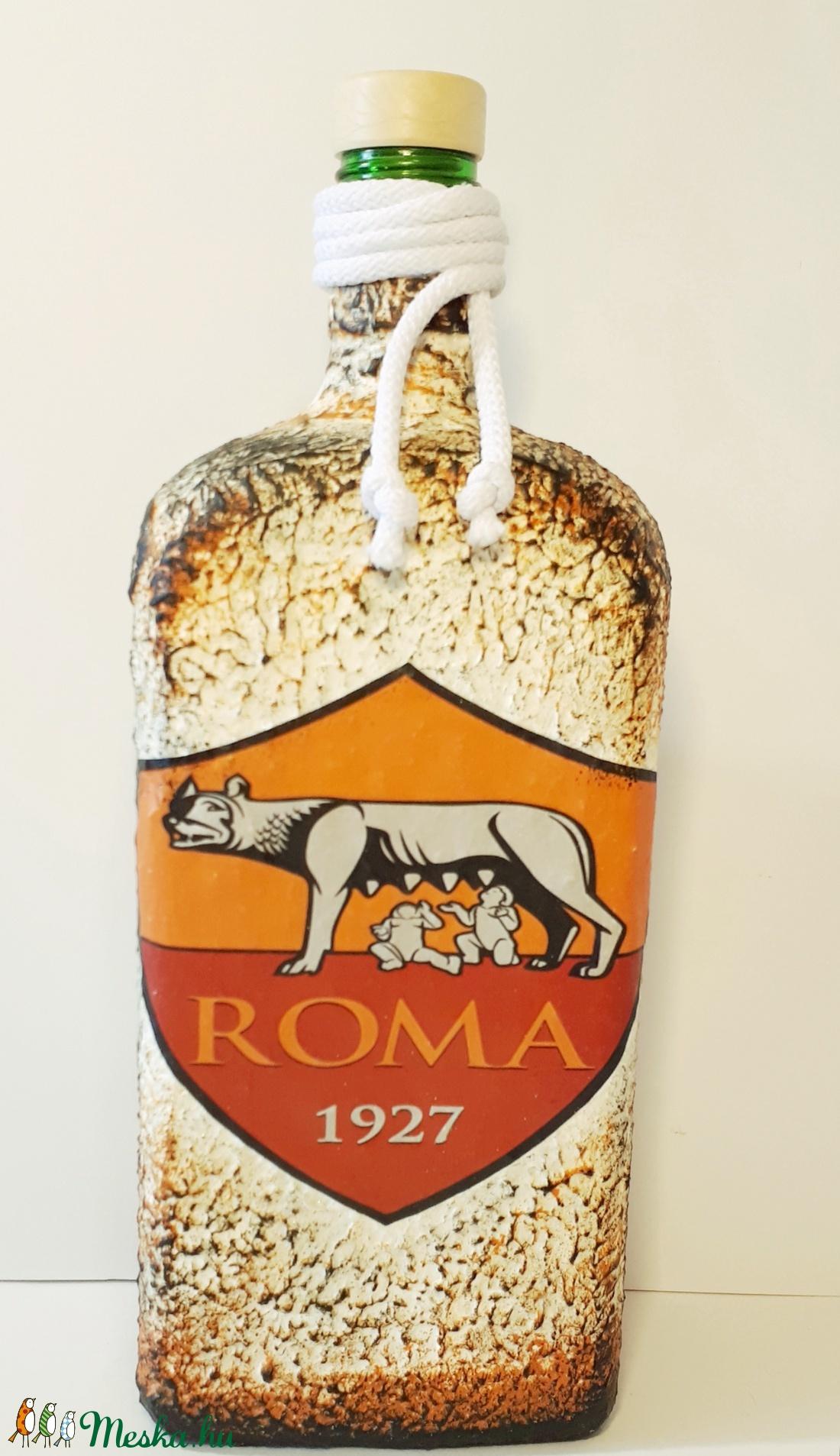 AS ROMA italosüveg, AS ROMA futball rajongói ajándék szülinapra, névnapra, karácsonyra. - otthon & lakás - dekoráció - díszüveg - Meska.hu