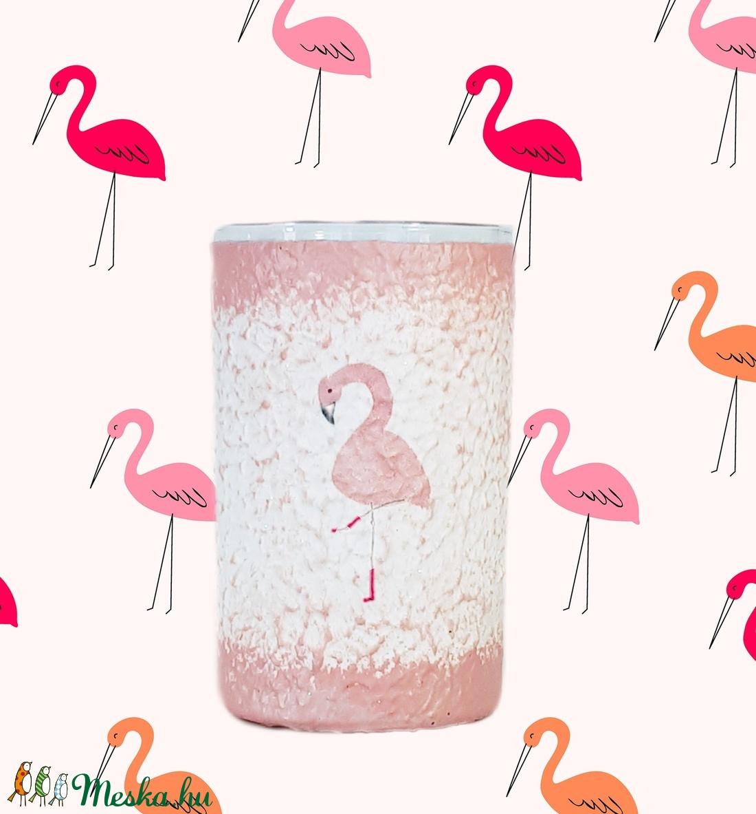 Flamingó üdítős, vizes pohár, ceruzatartó szülinapi, névnapi, valentin napi, mikulás ill. karácsonyi ajándékötlet. (Biborvarazs) - Meska.hu