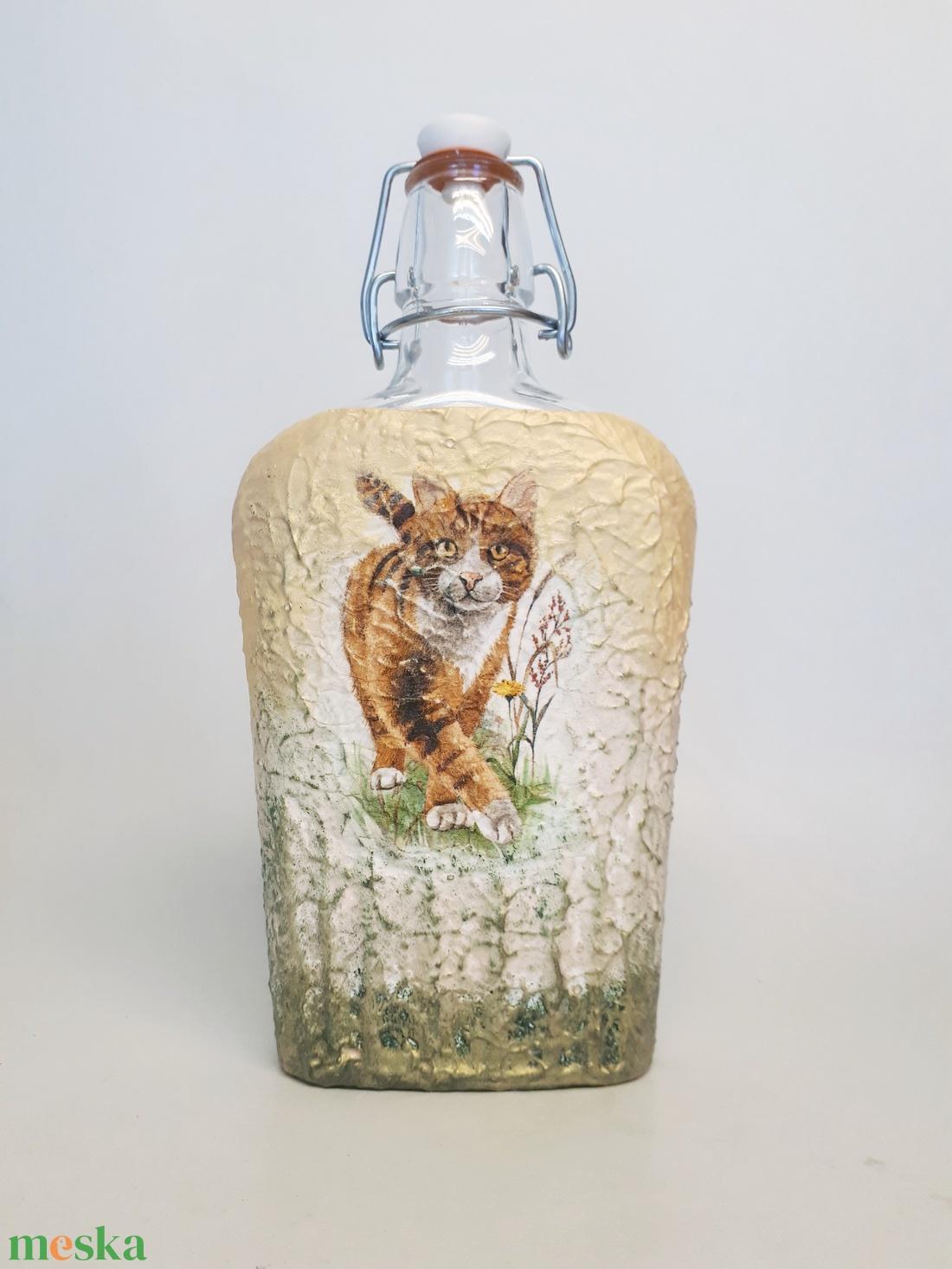 Cicás lapos csatos üveg állatbarátoknak, macska kedvelőknek. - otthon & lakás - konyhafelszerelés - üveg & kancsó - Meska.hu