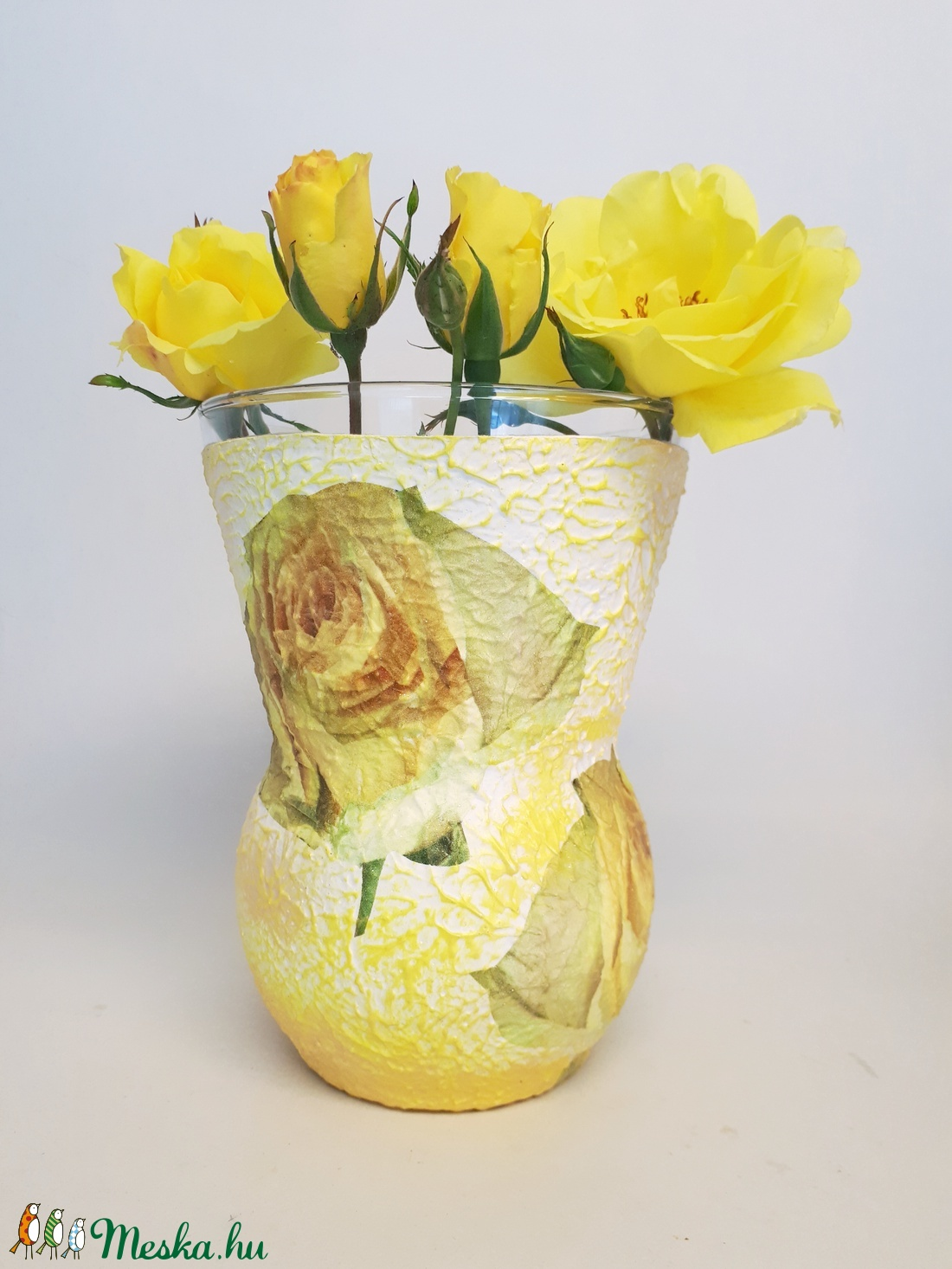 Sárga rózsás váza esküvőre, eljegyzésre, házassági évfordulóra, nászajándékba. (Biborvarazs) - Meska.hu
