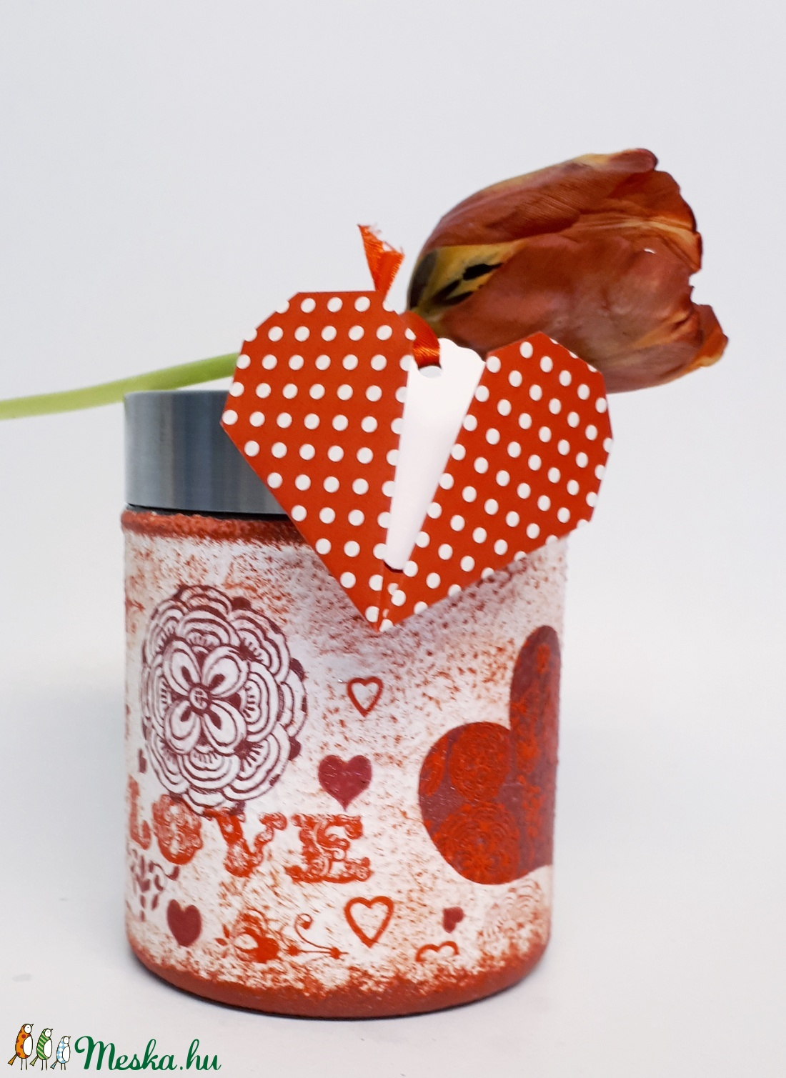 Piros szív mandala fűszertartó, konyhai tároló fém tetővel szív ajándékkísérővel valentin napra nőnapra, anyák napjára. (Biborvarazs) - Meska.hu