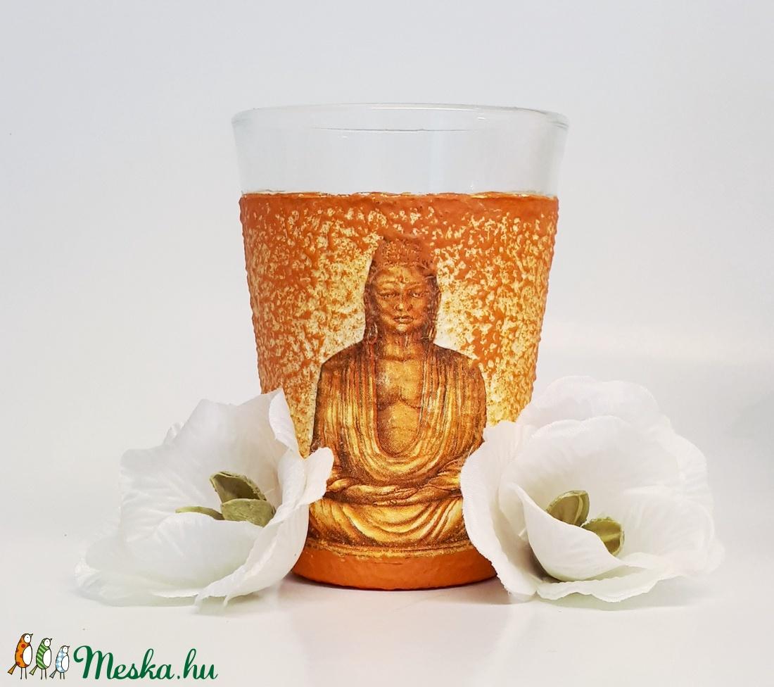 Arany Buddha vizes pohár, üdítős pohár spirituális ajándék   - otthon & lakás - konyhafelszerelés - pohár - Meska.hu