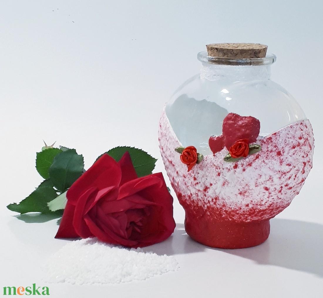 Vörös rózsás piros szív esküvői homok ceremónia, homok szertartás, homok kiöntő szett, esküvői ajándék.
