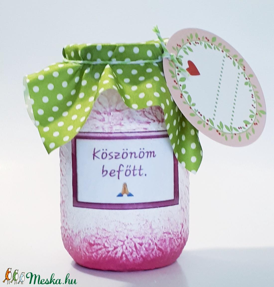 Köszönöm befőttes üveg, különleges ajándék szülinapra, névnapra, karácsonyra, miklulásra, pedagógusoknak, anyáknapjára (Biborvarazs) - Meska.hu