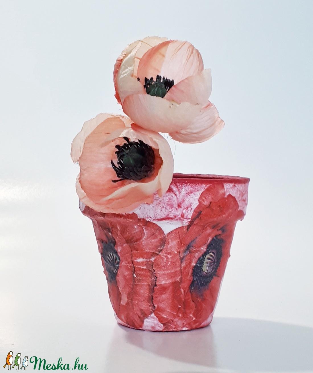 Pipacsos kaspó, virágtartó bármilyen alkalomra virág mellé. - otthon & lakás - dekoráció - virágtartó - Meska.hu