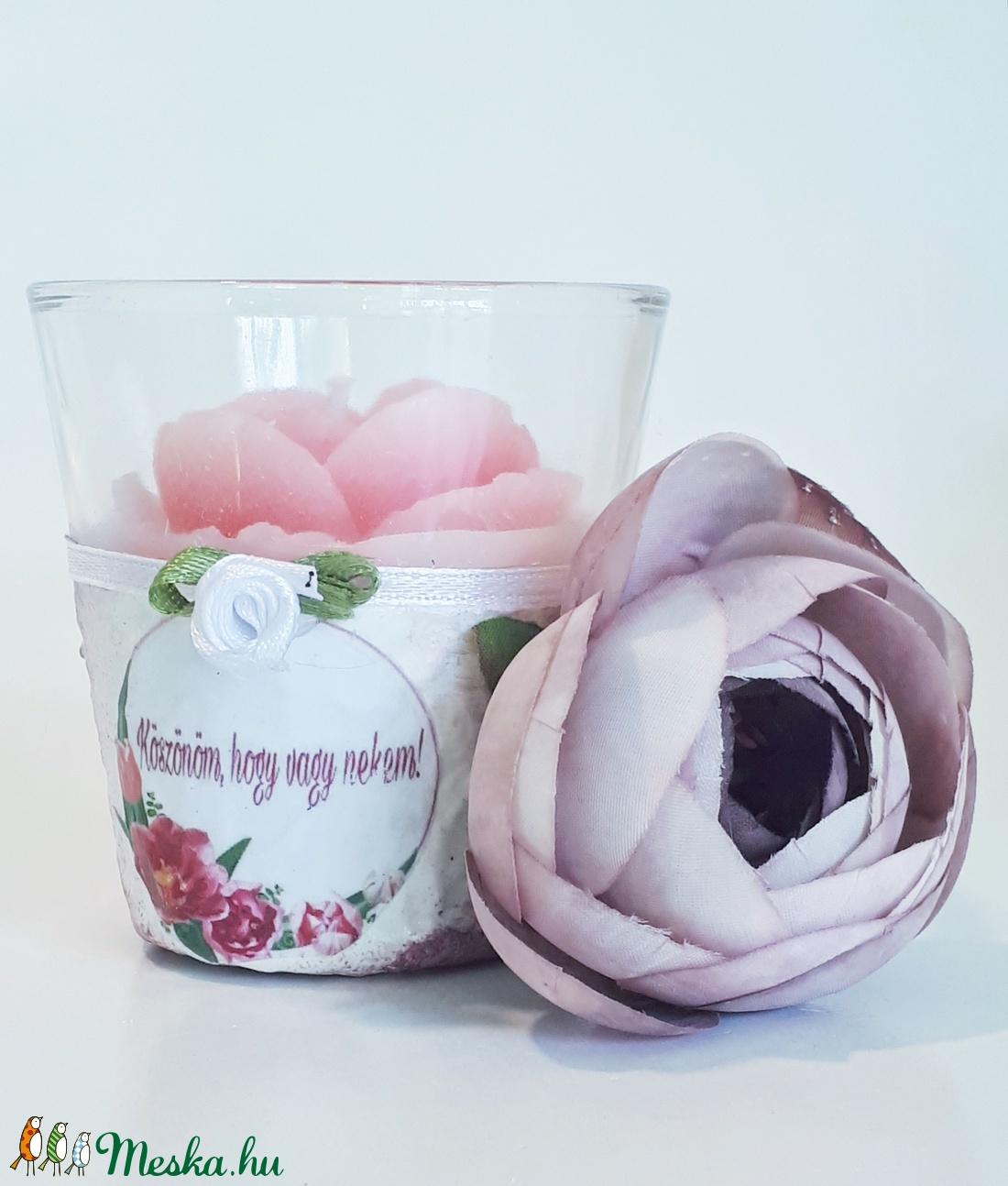 Köszönöm. hogy vagy nekem, rózsa gyertya üveg tartóban ajándék nőnapra, anyák napjára, házassági évfordulóra, szülinapra - Meska.hu