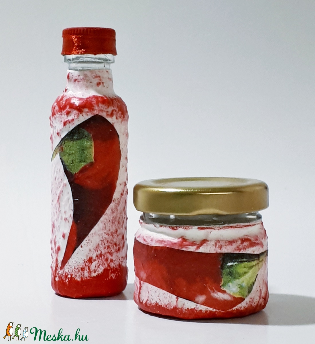 Chili mini üvegszett a csípős paprikát, piros paprikát kedvelőknek, ajándék névnapra, szülinapra, nőnapra, anyáknapjára. (Biborvarazs) - Meska.hu