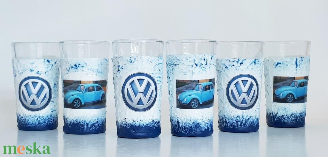 VOLKSWAGEN beetle bogár pohár, VOLKSWAGEN rajongói ajándék röviditalos pohárszett szülnapra, névnapra, karácsonyra.  (Biborvarazs) - Meska.hu