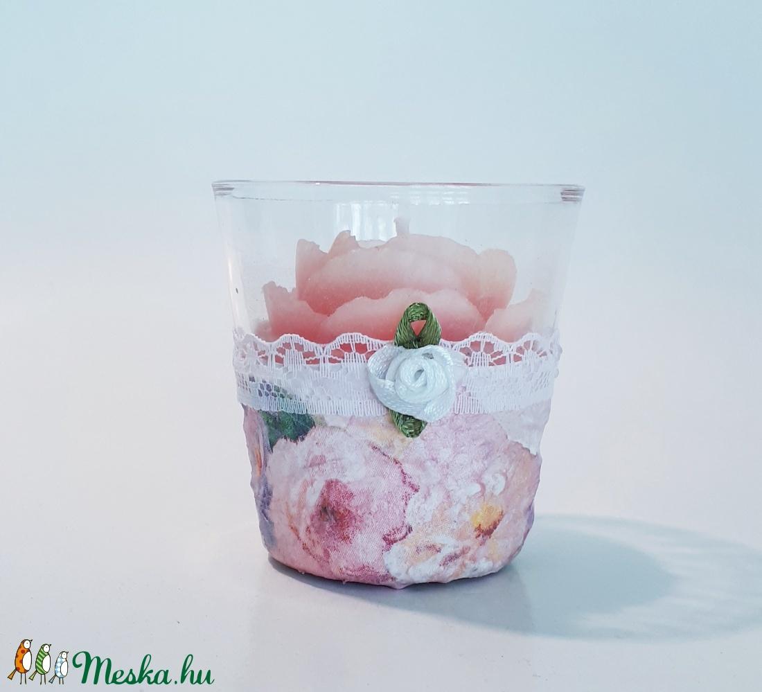 Babarózsa mintás rózsa gyertya üveg gyertyatartóban névnapra, szülinapra, pedagógusoknak, nyugdíjas búcsúztatóra - Meska.hu
