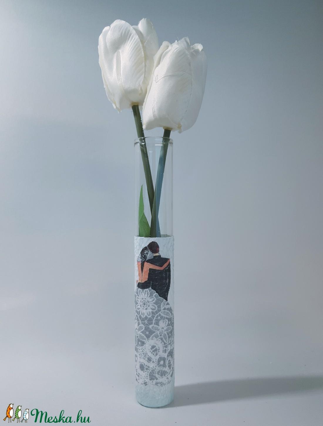 Kémcső váza, esküvői váza, modern menyasszony és vőlegény váza, esküvői dekoráció és nászajándék - Meska.hu