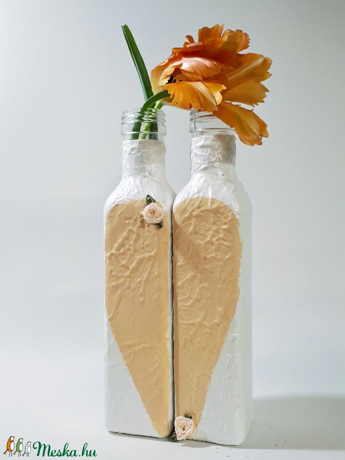 Két fél egy egész barack szives üveg váza tavaszi asztali dekoráció, ajándék nőnapra, anyáknapjára, szülinapra névnapra - Meska.hu