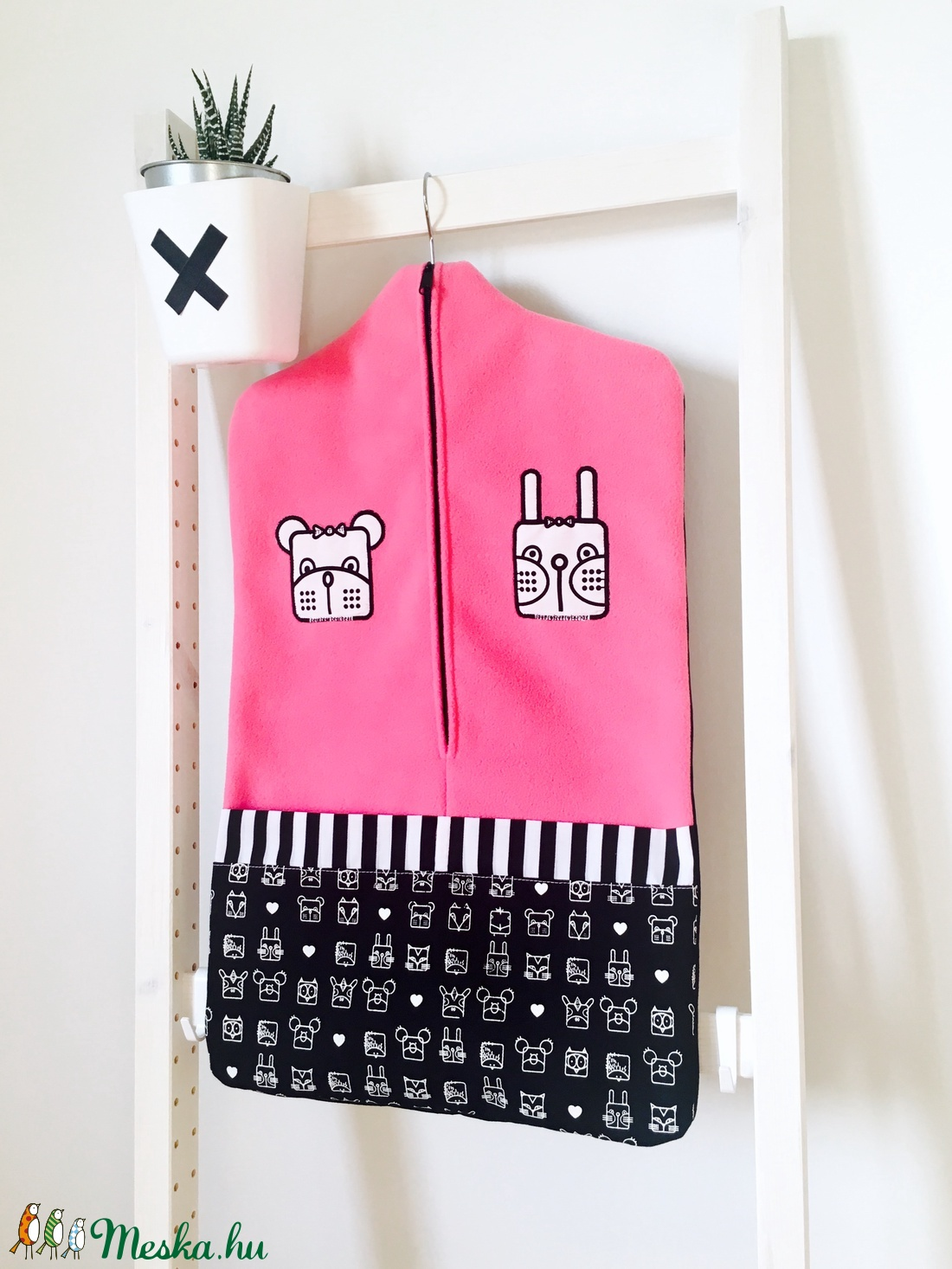 Ovis zsák, nyuszi-maci duó, pink (bimbadesign) - Meska.hu