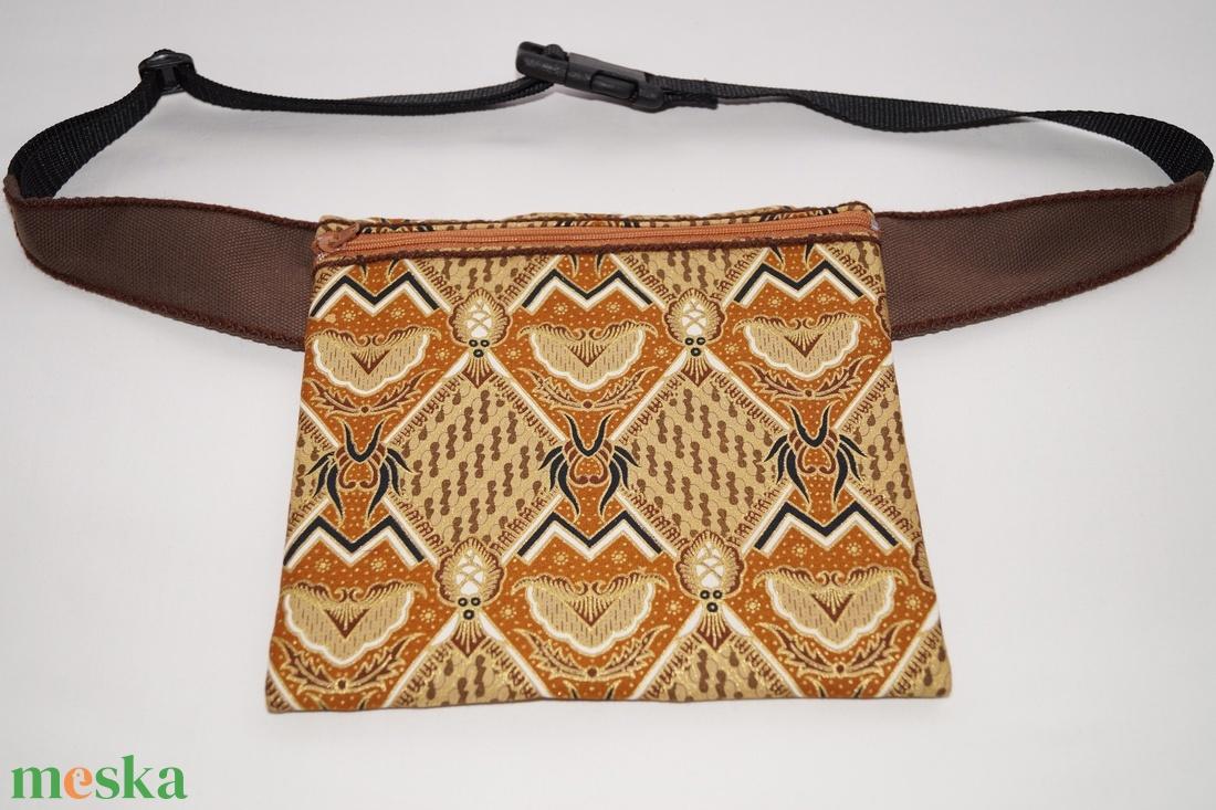 Narancssárga-barna, indonéz mintás, fesztivál övtáska - táska & tok - övtáska - Meska.hu