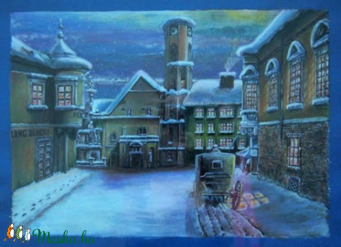 Ódon téli utca eredeti könyvillusztráció (blueklarion) - Meska.hu