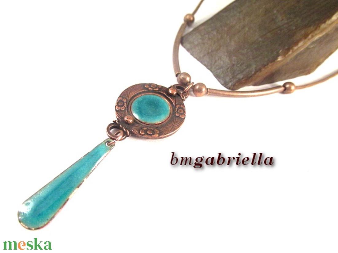 Turquoise - tűzzománc medál, egyedi tervezésű kézműves ékszer - ékszer - nyaklánc - medál - Meska.hu