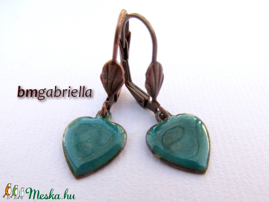 Szív fülbevaló - tűzzománc fülbevaló - türkiz - kézműves ékszer - ékszer - fülbevaló - lógó fülbevaló - Meska.hu