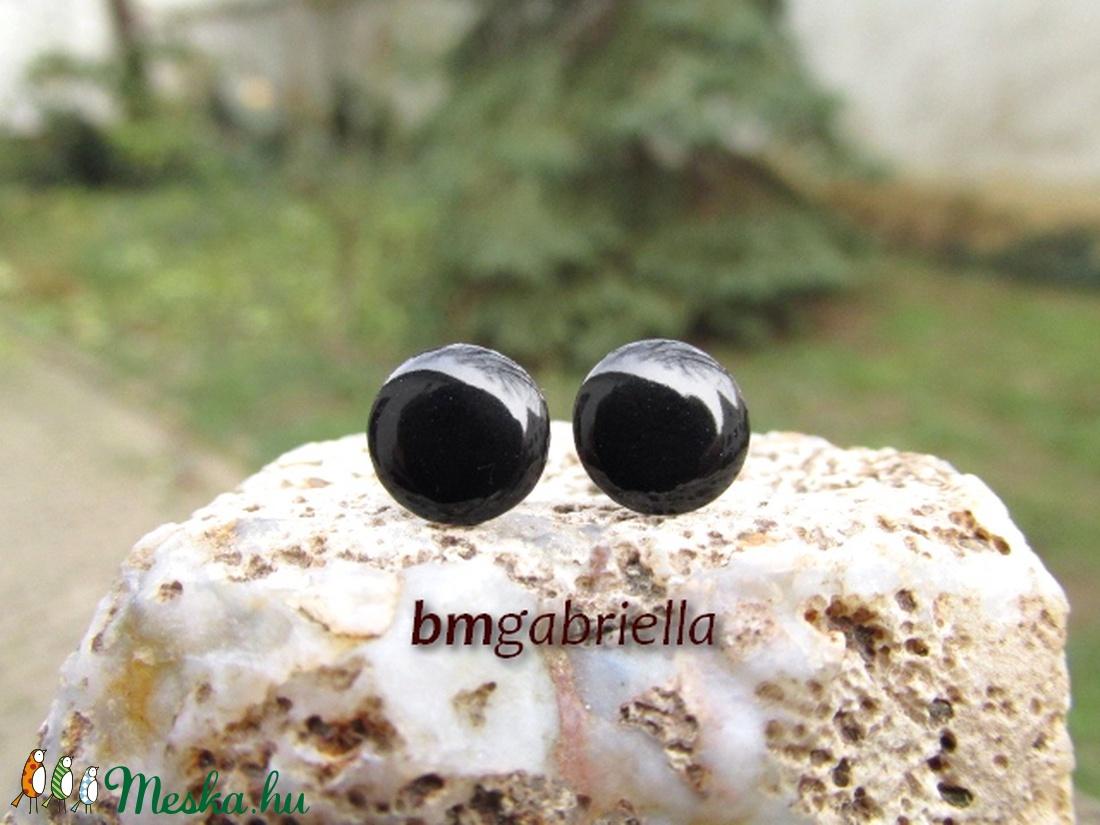 Cseppecske - fekete tűzzománc bedugós fülbevaló - orvosi fém, nemesacél pontfülbevaló - ékszer - fülbevaló - pötty fülbevaló - Meska.hu