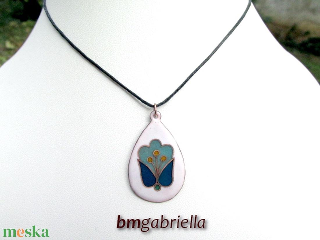 Angyal-tulipán - tűzzománc medál - magyar népi motívum - ékszer - nyaklánc - medálos nyaklánc - Meska.hu