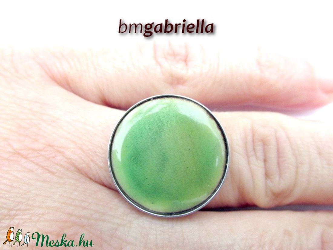 Tűzzománc gyűrű - egyedi tervezésű nemesacél kézműves gyűrű - állítható, modern gyűrű - orvosi fém - ékszer - gyűrű - statement gyűrű - Meska.hu