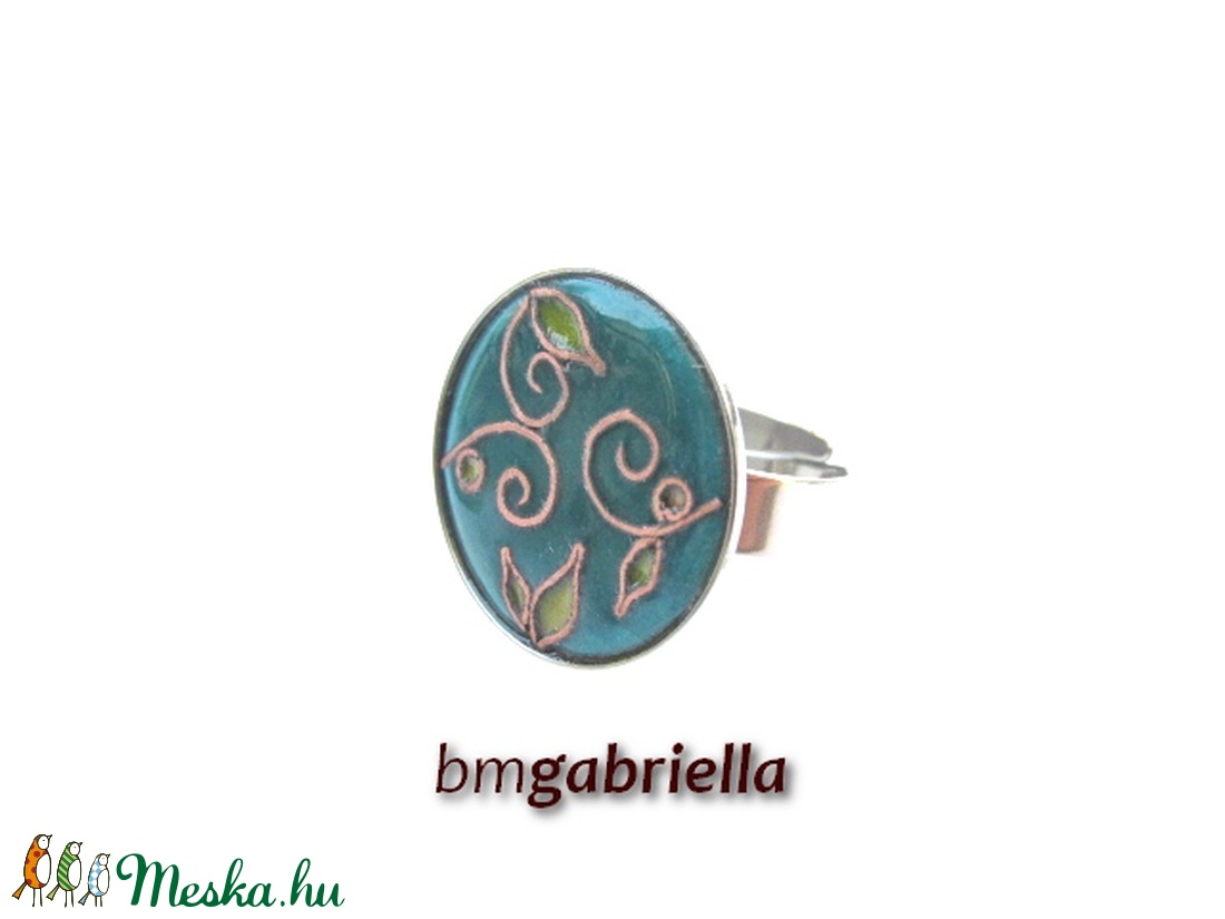 Májusi kertben - tűzzománc és nemesacél gyűrű - egyedi tervezésű kézműves ékszer  - ékszer - gyűrű - statement gyűrű - Meska.hu