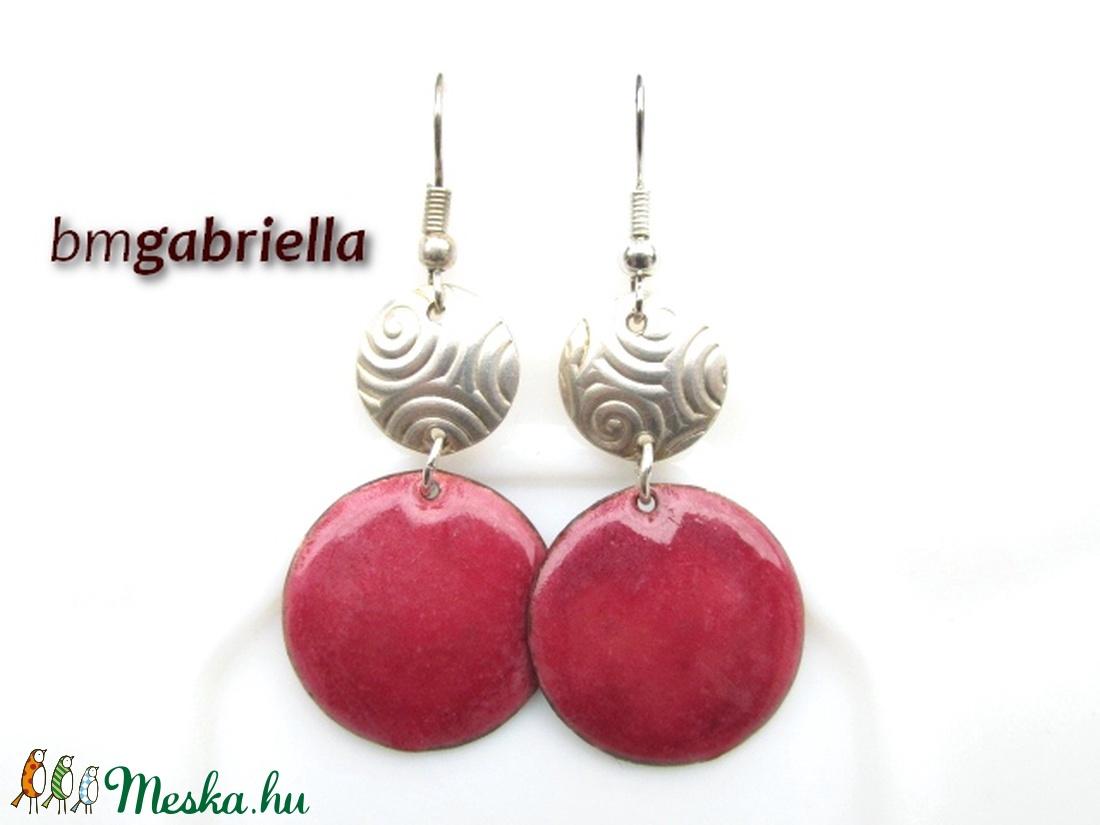 Rózsapiros - tűzzománc fülbevaló - egyedi tervezésű kézműves fülbevaló - ékszer - fülbevaló - lógó fülbevaló - Meska.hu