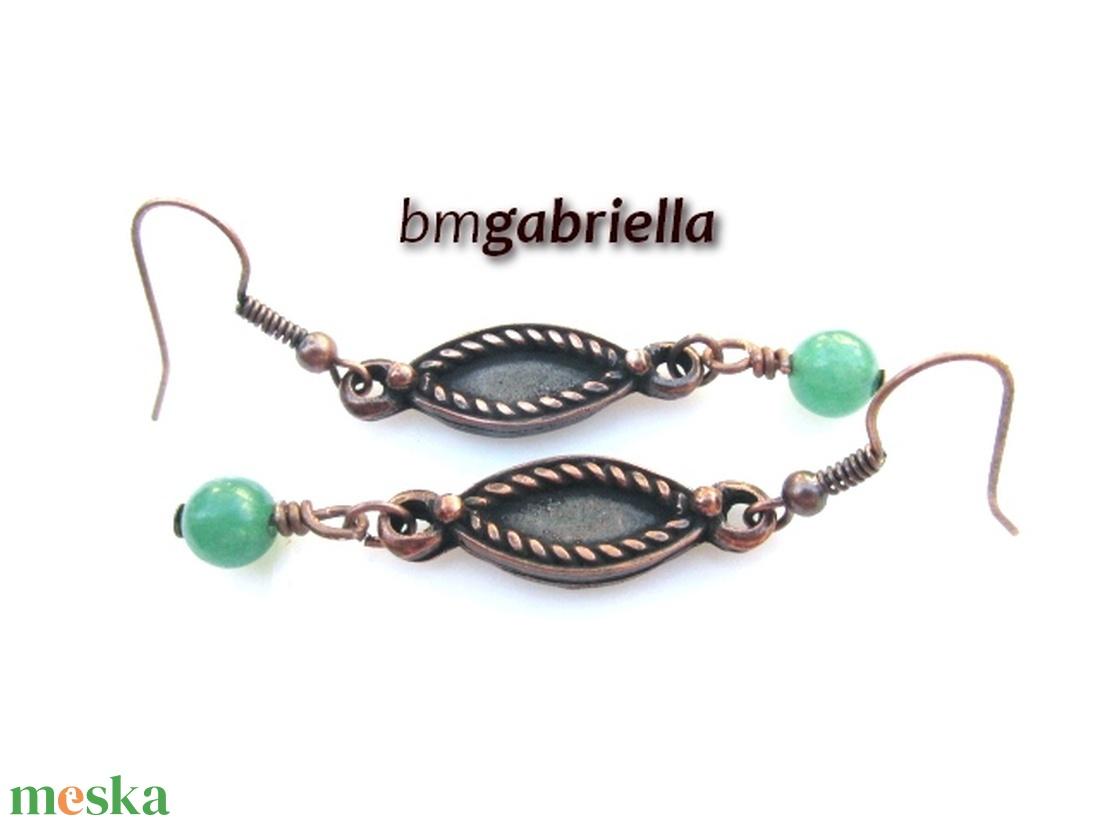 Gyöngyös - egyedi tervezésű kézműves fülbevaló - aventurin gyöngy - ékszer - fülbevaló - lógó fülbevaló - Meska.hu