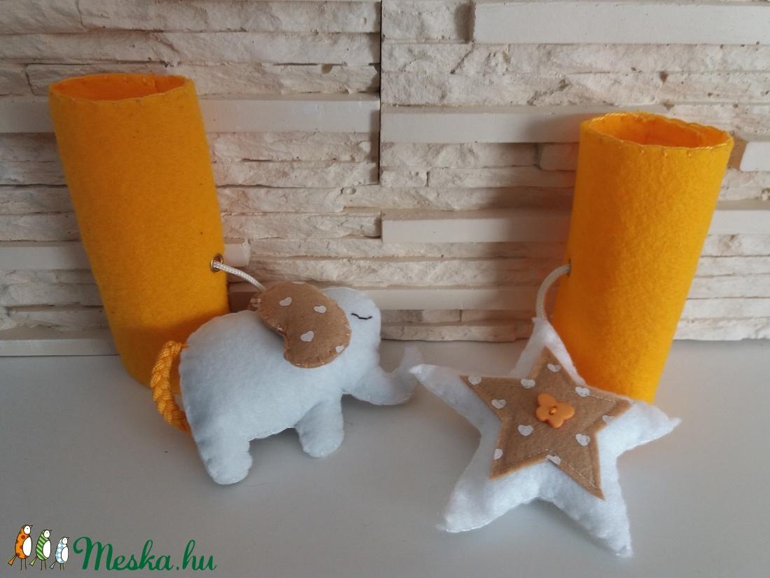 Baba játék szett hordozóra - natúr és napsárga színvilágban - játék & gyerek - 3 éves kor alattiaknak - csörgő - Meska.hu