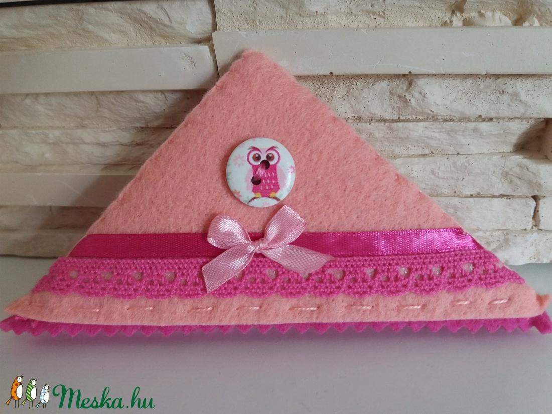 Könyvjelző sarkocska vidám színekben - rózsaszín bagoly - otthon & lakás - papír írószer - könyvjelző - Meska.hu